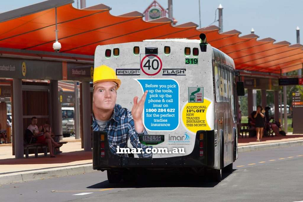 Image of a bus with an advert on the back